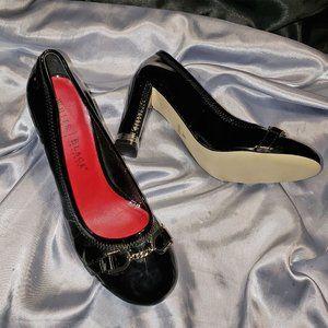 WHITE HOUSE BLACK MARKET patent thick heel pumps 8